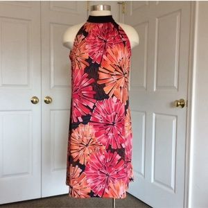 New Directions floral high neck shift dress